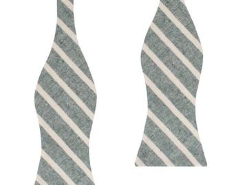 97d3f8fdedf9 Men's Konya Chalk Stripe Green Linen Self Bow Tie (L450-UTBT) Untied  Un-tied Tied Bowtie Bowties Ties Men Mens 100% Natural Linen Normal