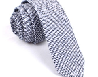 a2d7a3140d48 Mens Linen Skinny Tie 6CM Navy Blue Tweed Herringbone (L034-ST6) Natural  Organic Fibers Ties Thin Narrow Slim Men Neckties Necktie Wedding