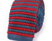 Mens Knitted Tie Red & Blue Stripes 6CM Wide (K013-T) Men's Knit Ties Woven Fabric Men Skinny Necktie Thin Neckties Wedding Formal Neckwear