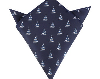 Sailboat Pocket Square.Blue Denim Pocket Squares.Mens Hankderchief.Nautical Theme.Matching Set Option