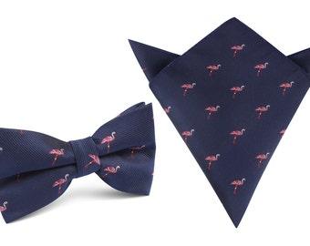 9bfa0222ee42 Matching Bow Tie + Pocket Square The Navy Blue Pink Flamingo (M107-BT+P)  Men's Squares Handkerchief Bowtie Bowties Ties Mens Men Wedding
