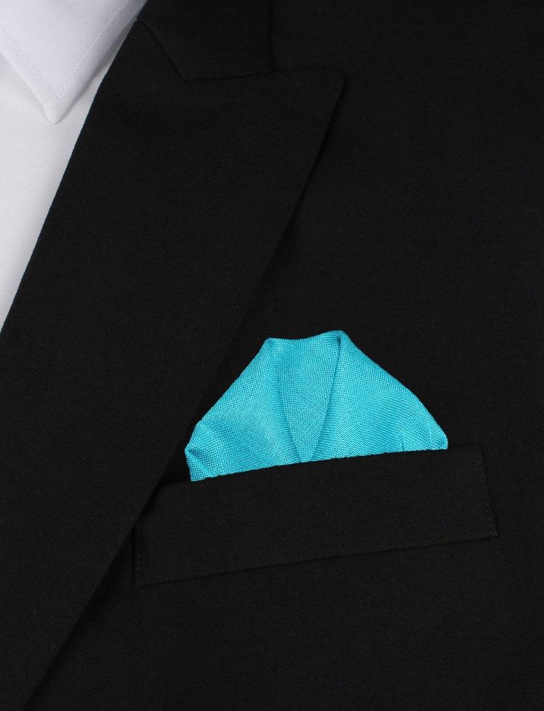 Handkerchief Thin Slim Ties Men Necktie Suit Narrow L173-S+P Matching Skinny Tie Pocket Square Combo Teal Slub Linen