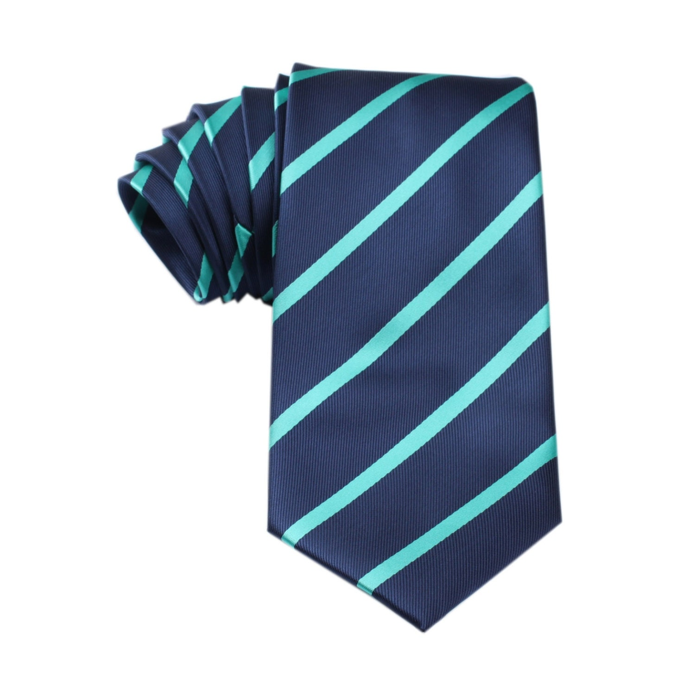 Mens Tie 8.5CM Navy Blue with Teal Stripe X457-T85 Neck Ties