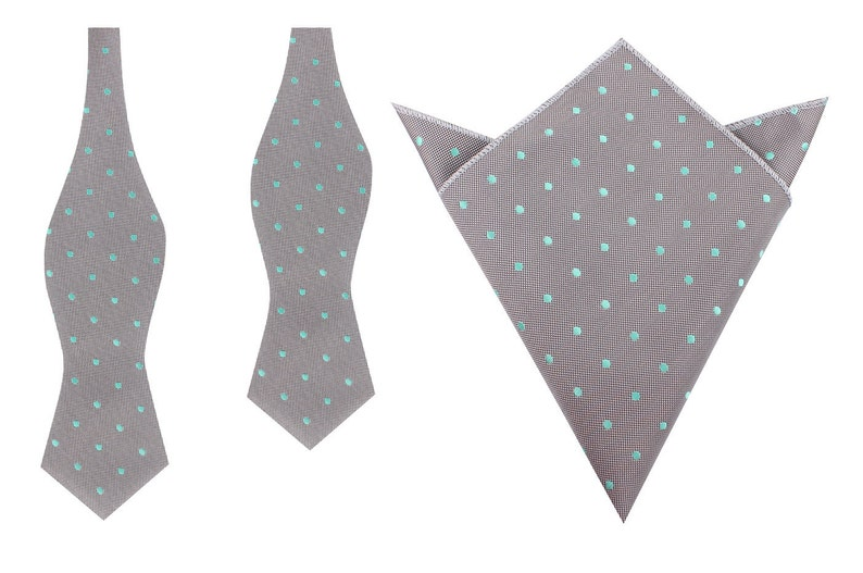 Mens Point Bowties Men/'s Handkerchief Matching Self Tie Diamond Tip Bow Ties Pocket Square Grey with Mint Green Polka Dots M114-UB+P