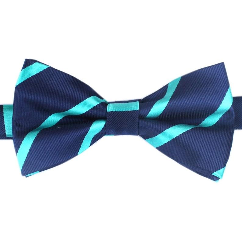868e47f94a3d Men's Bow Tie Pre-Tied Navy Blue Teal Diagonal Stripes   Etsy