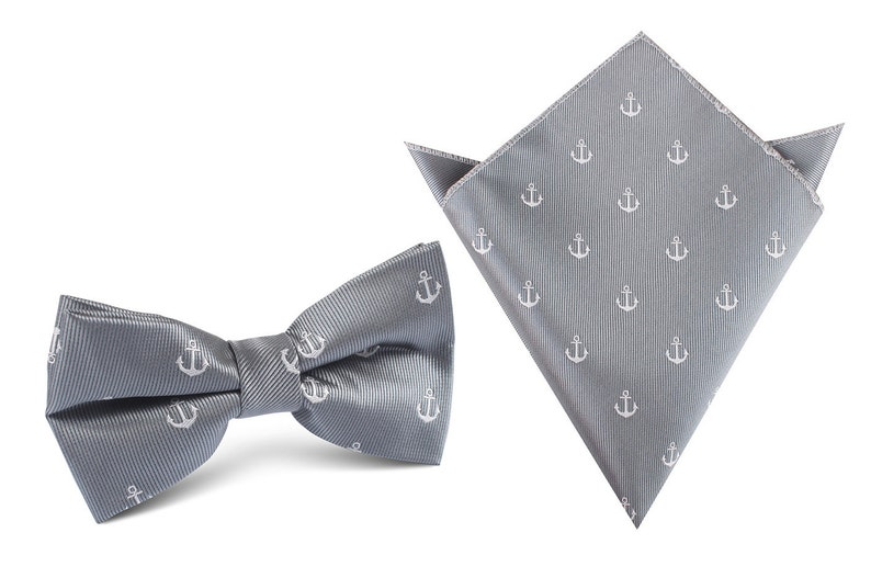 f399d0f60c4e Matching Bow Tie Pocket Square The OTAA Charcoal Grey Anchor | Etsy