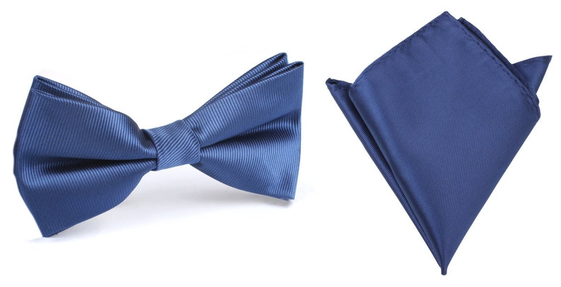 38fd3e6ba8d8 Matching Bow Tie Pocket Square Combo Navy Blue Line Solid | Etsy