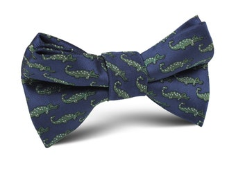 Green Crocodile On Blue Kids Bow Tie (M632-KBT) Wedding Page Boys Bowtie Bowties Ties Child Children Toddler Infant Boy