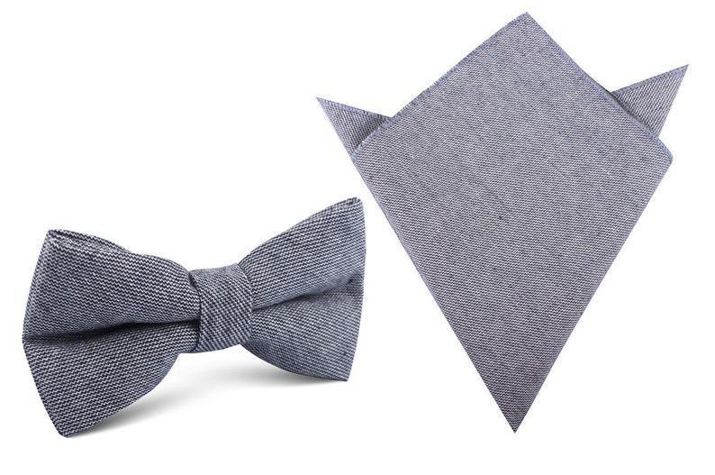 e5a27f74fc6e Matching Bow Tie Pocket Square Navy Blue Zig Zag Linen | Etsy