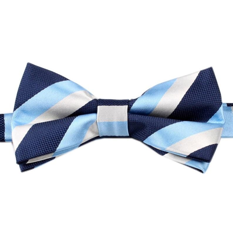 ecadc039b1f0 Men's Bow Tie Pre-Tied Navy Blue White Light Blue Stripe   Etsy