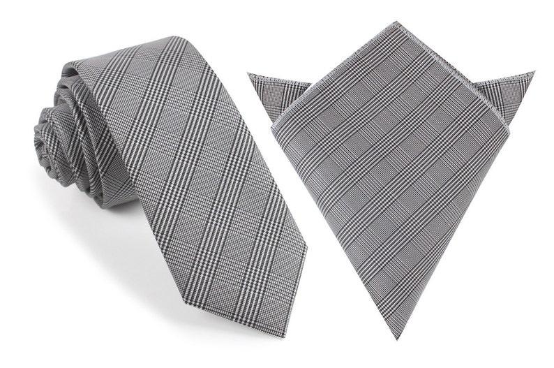 5db8d3eede28 Matching Skinny Tie Pocket Square Combo Grey Glen Plaid | Etsy