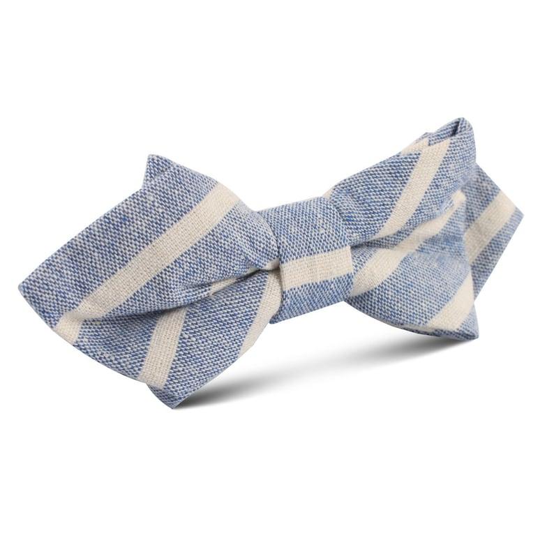 f3d3f25f4fee Men's Blue Bodrum Linen Chalk Stripe Diamond Bow Tie   Etsy