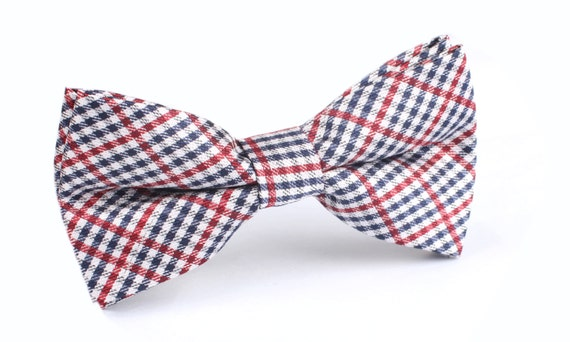 Handmade Blue Gingham Pre-tied Clip on Bow Tie for Boys