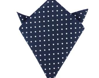 Men's Cotton Pocket Square Navy Blue with Mini White Polka Dots (C079-PS) Natural Fibers Handkerchief Hanky Hankie Squares Ties Necktie Tie
