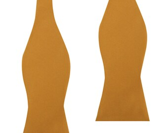 Solid Gold Satin Wedding Self Bow Tie (M573-UTBT) Untied Un-tied Tied Bowtie Bowties Ties Men Mens Wedding Grooms Tux