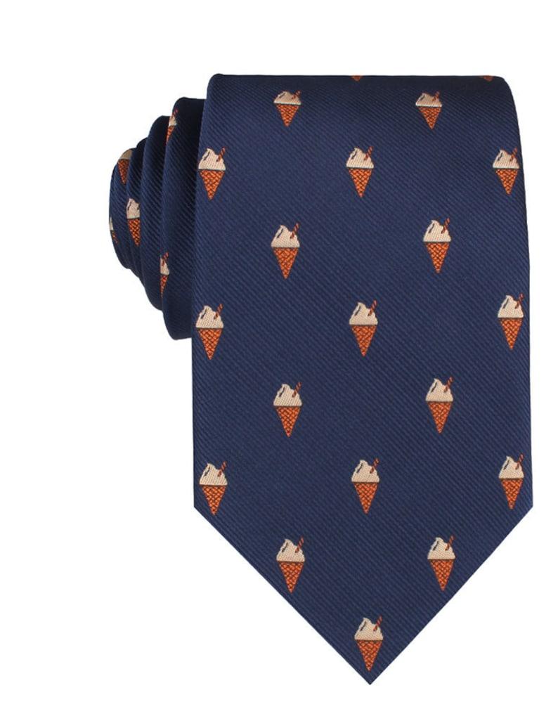 M652-T85 Mens Neckties 8.5CM Wide Men Ties Tie Wedding Groomsmen Grooms Men Cappuccino Ice Cream Cone Novelty Necktie