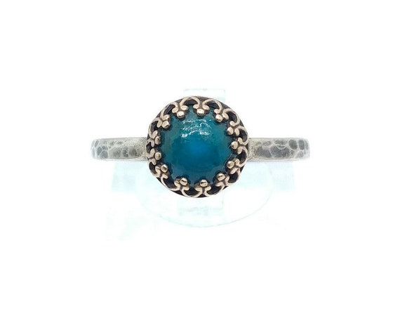 Victorian Ocean Blue Chrysocolla Stone Ring in Brass with Hammered Sterling Silver Band Sz 10.25 Clearance