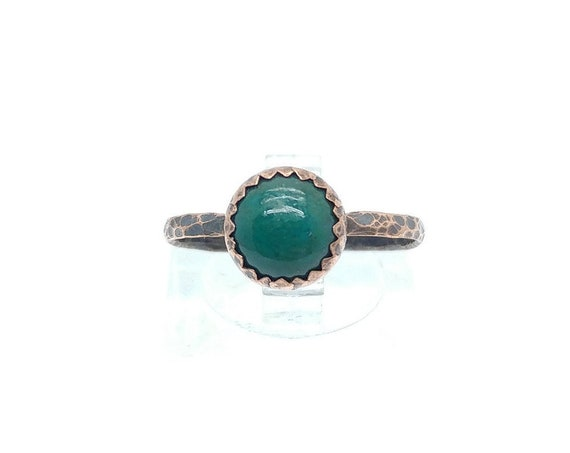 Natural Green Chrysocolla Round Stone Ring in Mixed Metal Sterling Silver with Copper Band Sz 8 Clearance