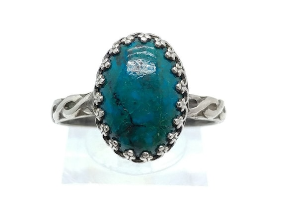 Large Victorian Ocean Blue Green Chrysocolla Stone Ring in Sterling Silver Band Sz 11 a Boho Chic Statement Fashion Piece Clearance