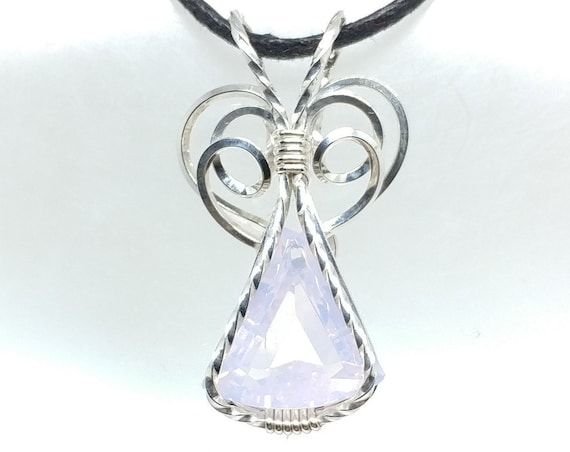 9ct Natural Pearl Amethyst Elven Wirewrapped Pendant in Sterling Silver