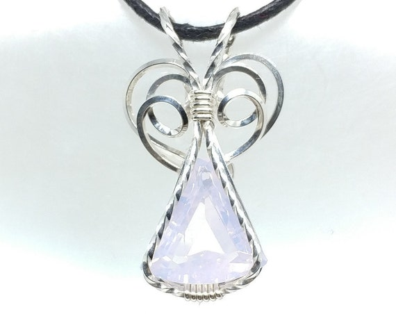 9ct Large Faceted Fantasy Cut Natural Pearl Amethyst Elven Wirewrapped Pendant in Sterling Silver, a Perfect Gift for Wife or Girlfriend