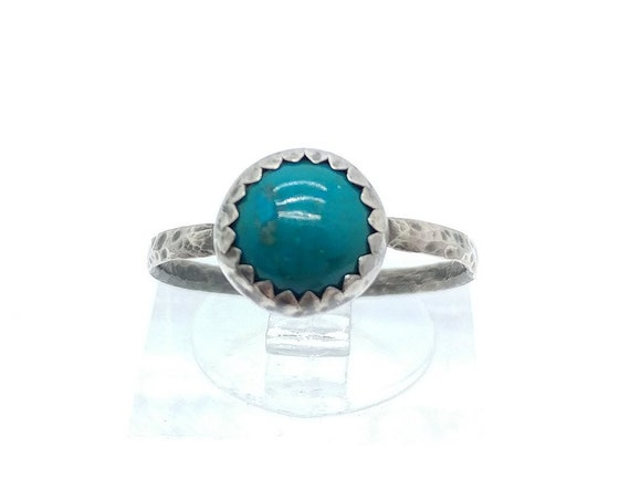 Round Ocean Blue Chrysocolla Stone Ring in Sterling Silver Ring Sz 6.75 a Handmade Gift for Her Clearance