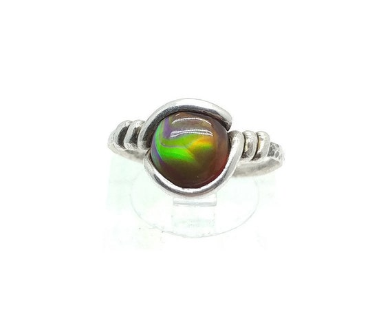 Rainbow Fire Agate Ring in Hammered Sterling Silver Sz 7.25 a Rare Gemstone Mined in Mexico