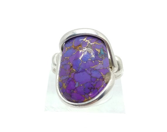 Mojave Purple Turquoise Ring | Sterling Silver Ring Sz 5.5 | Simple Purple Stone Ring | Gift for Mom | December Birthstone