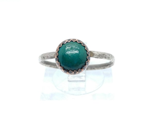 Rustic Stone Ring | Chrysocolla Ring | Mixed Metal Ring | Sterling Silver Ring Sz 8.75 | Copper Ring | Tribal Rings for Women | Boho Ring