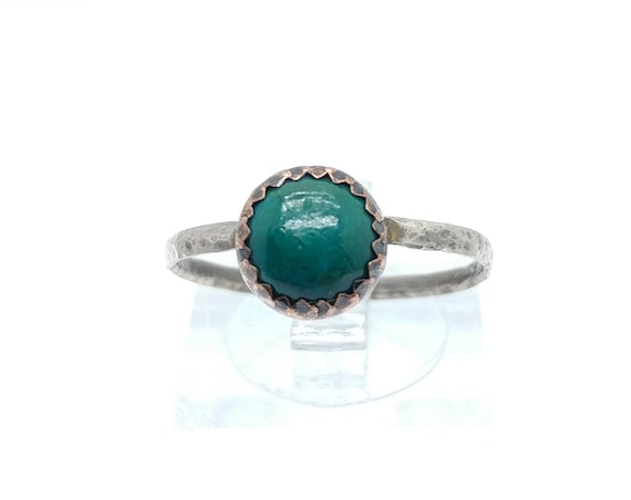 Round Green Chrysocolla Stone Mixed Metal Ring in Sterling Silver and Copper Band Sz 8.75 Clearance