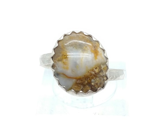 Oregon Widowmaker Plume Agate Ring in Hammered Sterling Silver Sz 6.25