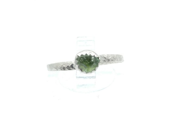 Natural Green Tourmaline Ring | Sterling Silver Ring Sz 7  | Raw Crystal Ring | Uncut Gemstone Ring | October Birthstone Jewelry
