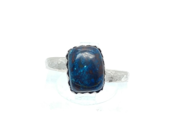 Royal Blue Stone Ring | Chrysocolla Stone Ring | Sterling Silver Ring Sz 6.5 | Rustic Gemstone Ring | Blue Rectangle Stone Ring | Azurite