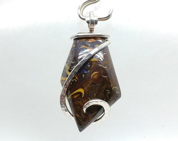 Blue Flash Precious Opal Koroit Boulder Opal Pendant | Australian Opal Jewelry | Sterling Silver Pendant | October Birthstone