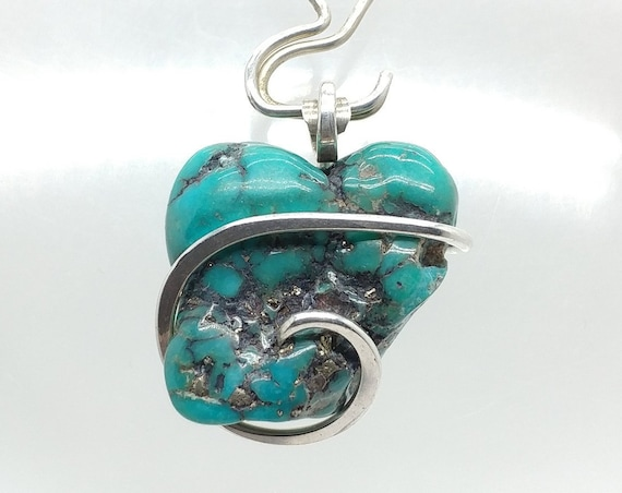 Heart Shape Raw Turquoise Nugget Pendant Sterling Silver from the Morenci Mine