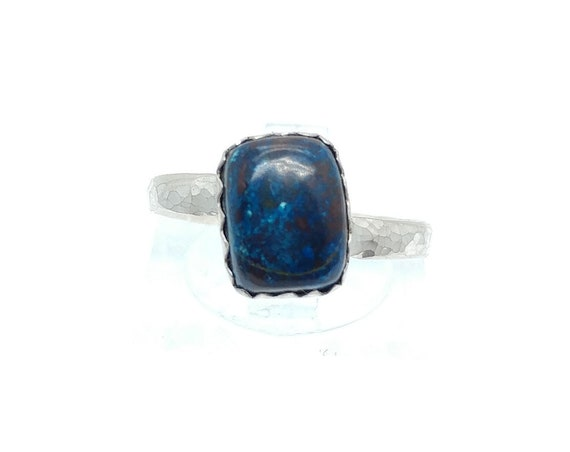 Royal Blue Chrysocolla Stone Ring in Sterling Silver Band Sz 6.5