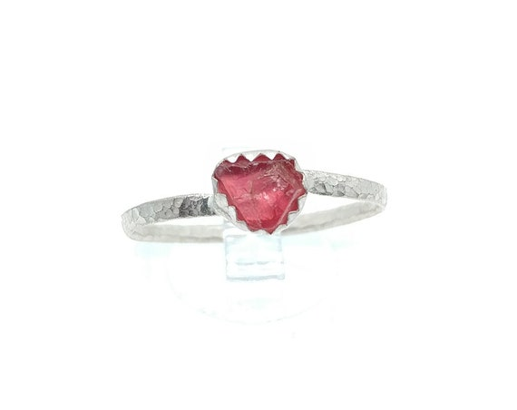 Raw Hot Pink Red Spinel Crystal Stone Ring in Sterling Silver Sz 9.5