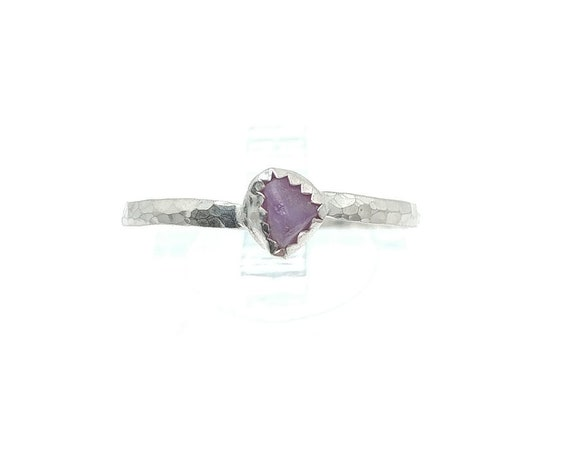 Purple Sapphire Crystal Stacking Ring in Sterling Silver Sz 9.75
