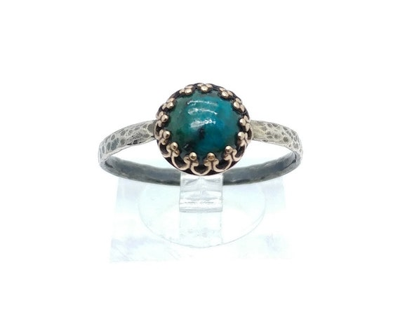 Victorian Ocean Blue Chrysocolla Stone Ring in Brass with Hammered Sterling Silver Band Sz 10.5 Clearance