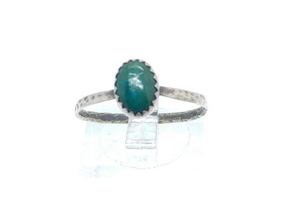 Simple Turquoise Blue Ring | Sterling Silver Ring Sz 9 | Blue Green Stone Ring | Chrysocolla Ring | Simple Blue Stone Ring