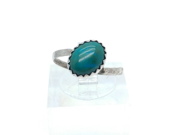 Oval Ocean Blue Green Chrysocolla Gemstone Ring in Hammered Sterling Silver Sz 5.5 Clearance