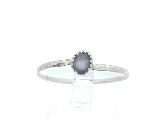 Blue Sapphire Stacking Ring | Sterling Silver Ring Sz 9.75 | Raw Sapphire Ring | September Birthstone Ring | Raw Blue Sapphire Stacker Ring