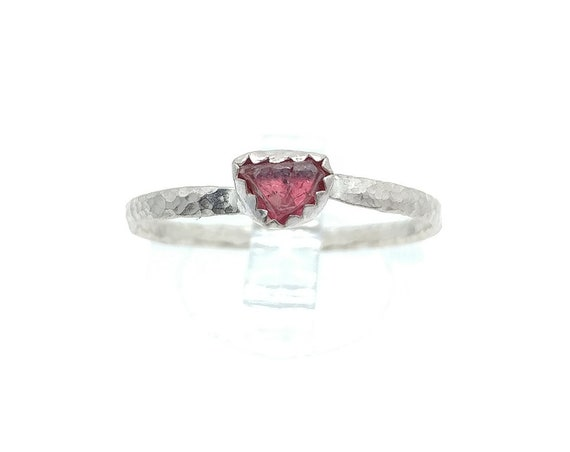 Hot Pink Spinel Crystal Stone Ring in Sterling Silver Sz 8.75