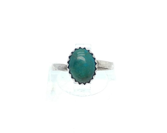 Oval Ocean Blue Green Chrysocolla Gemstone Ring in Hammered Sterling Silver Sz 5.25 Clearance