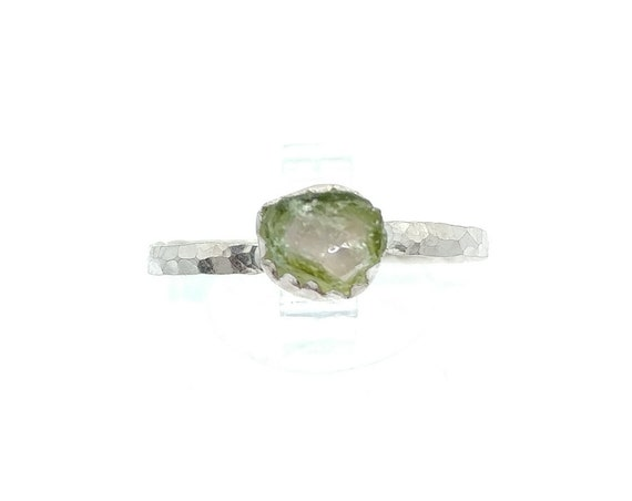 Raw Watermelon Tourmaline Crystal Ring in Sterling Silver Ring Sz 9