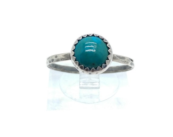 Round Ocean Blue Chrysocolla Stone Ring in Sterling Silver Ring Sz 8.75 a Handmade Gift for Her Clearance