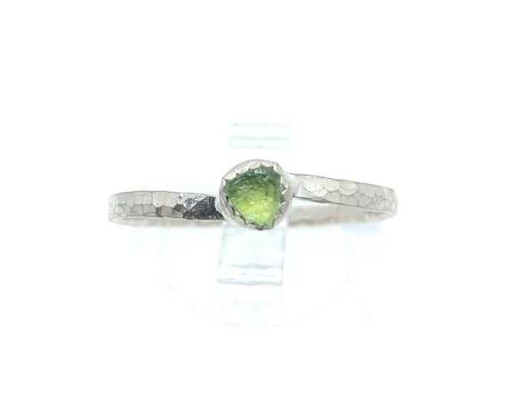 Natural Green Tourmaline Crystal Stacking Ring in Sterling Silver Sz 9