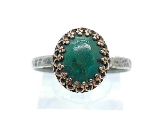 Victorian Ocean Blue Chrysocolla Stone Ring in Mixed Metal Antique Brass & Sterling Silver Band Sz 11 Clearance