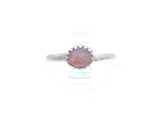 Raw Purple Sapphire Pebble Stone Stacking Ring in Sterling Silver Sz 4 a September Birthstone Jewelry Gift One of Our Best Selling Items