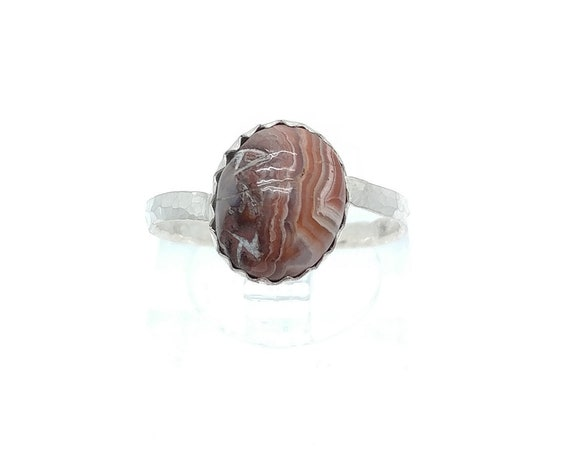 Simple Crazy Lace Agate Ring | Sterling Silver Ring Sz 6.75 | Laughter Stone | Banded Agate | Striped Stone | Stone of Happiness | Crazylace